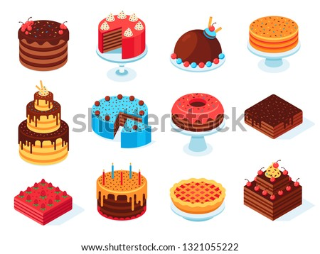 Isometric cakes. Chocolate cake slice, delicious sliced birthday pie and tasty pink glaze cake. Baking food, pastry sweet cream pies for birthday event. Isolated 3d vector symbols set
