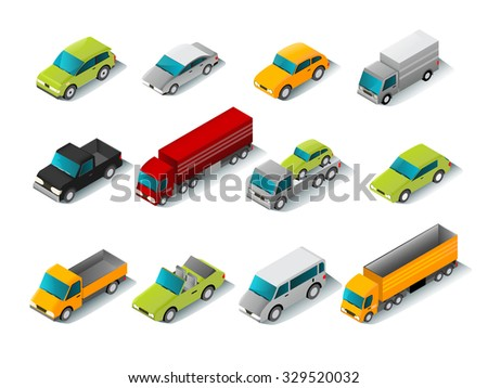 isometric car icons set with 3d