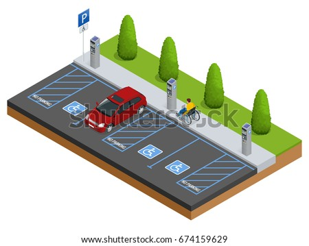 Isometric Car in the parking lot or car-parking for the disabled. Vector web banner isometric flat vector style.