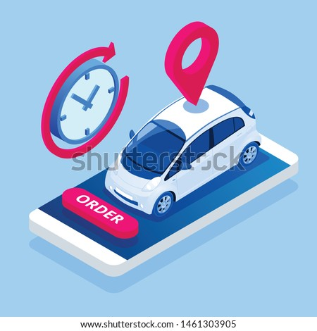 Isometric Car Rental concept. Selling, leasing or renting car service. Vehicle rental and purchase. Used cars app.