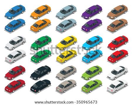 Isometric Car Sedan. Big automobile set. Urban transport. Colorful cars.