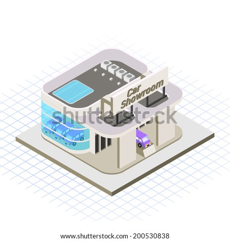 isometric car showroom vector