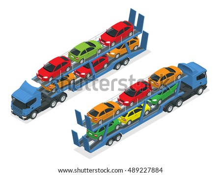 isometric car transport truck