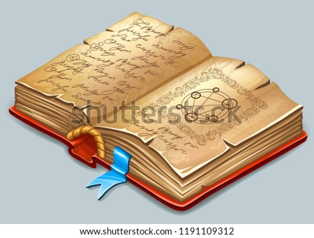 Stock Photo Isometric cartoon book of magic spells and witchcraft for computer game. Fairy tale icon in cartoon style. Vector illustration.