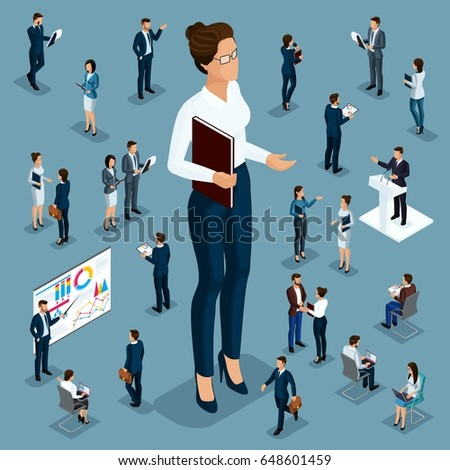 Isometric cartoon people, 3d businessman big man small workers and subordinates, female director for vector illustrations.