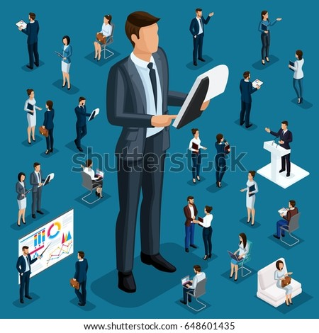 Isometric cartoon people, 3d businessmen big director small workers and subordinate qualitative drawing details for vector illustrations.
