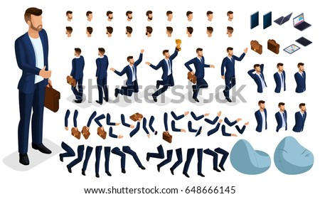 Isometric cartoon people, 3D Set for creating an office worker character. Full length gestures isolated on white background. Create your own design for vector