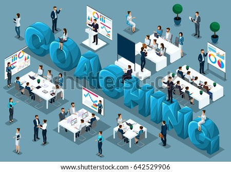 Isometric cartoon people vector, 3d businessmen, concept of training staff, coach on demand teaches, staff at lecture, great word coaching vector illustration