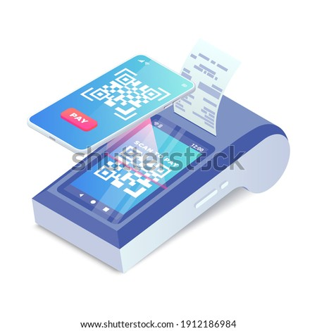 Isometric Cashless Payment machine with qr code on screen, smartphone scan to pay barcode vector concept. 3d Contactless payment, smart terminal with online cash desk print receipt