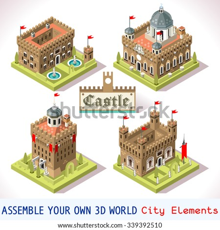 isometric castle map medieval