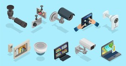 Isometric CCTV elements collection with security cameras electronic devices for different types of monitoring and surveillance isolated vector illustration