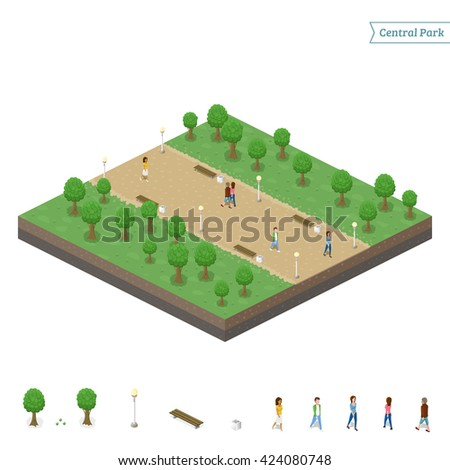 isometric central park   object
