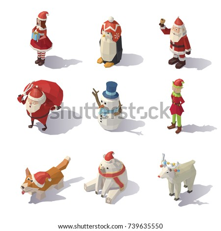 Isometric Christmas characters isolated on white background. Vector low poly illustration.