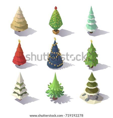 Isometric Christmas trees isolated on white background. Vector low poly illustration.