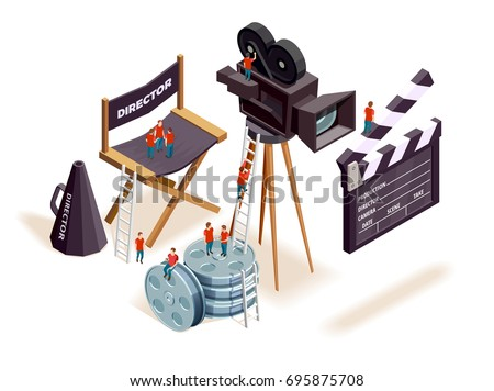 Isometric cinema composition with the little people climbing on motion picture filming equipment and directors seat vector illustration
