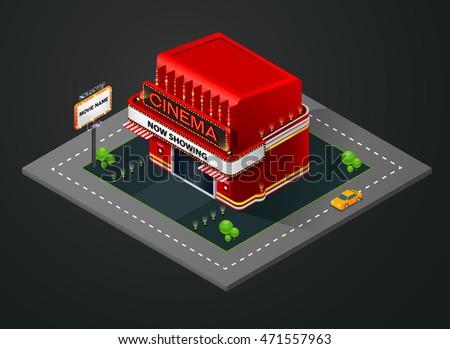 isometric cinema, isometric theater,building,vector