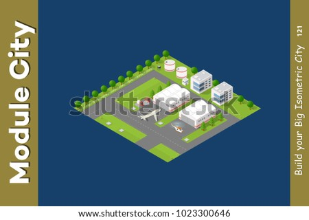 Isometric city 3D airport runway landscape infrastructure with roads, streets, houses, planes