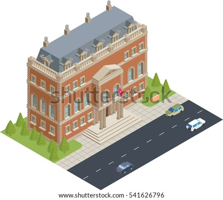 isometric city hall building