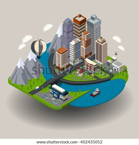 isometric city icon with
