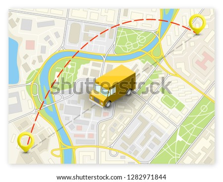 Isometric city map navigation, point markers background, vector isometry drawing schema, 3D simple city plan GPS navigation, final destination arrow paper city map. Route delivery check point graphic