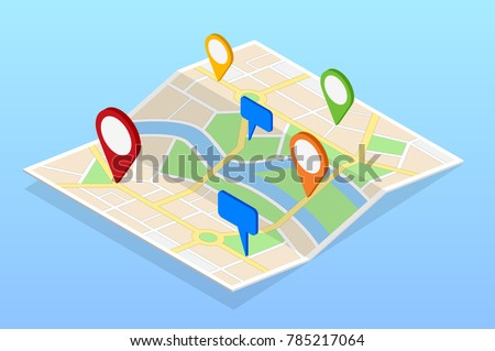 Isometric City navigation map with pins or gps map, cityscape. Vector illustration