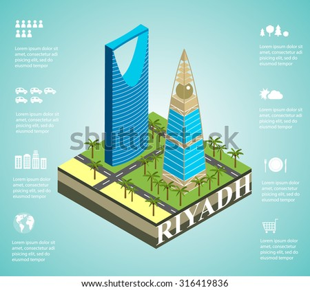 isometric city of riyadh saudi