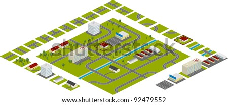 Isometric city plan – segments for easy creating own plans