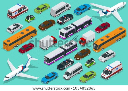 Isometric city transport with front and rear views. Trolley, plane, sedan, van, cargo truck, off-road, bike, mini and sport cars. Urban public and freight vehihle.