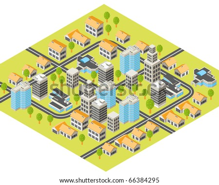 Isometric city with downtown and  suburbs, buildings and roads