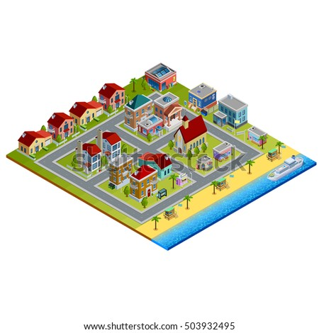 isometric city with low rise