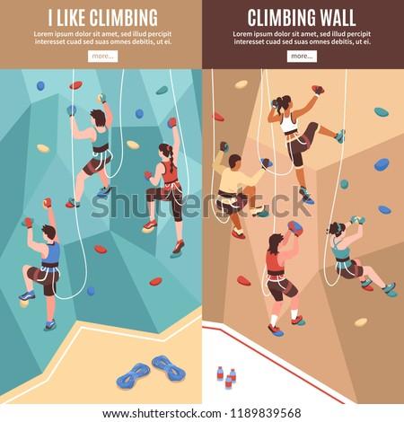 isometric climbing wall banners
