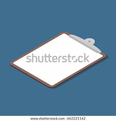 Isometric clipboard with empty page. Business clipboard icon. Vector