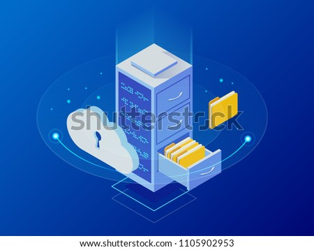 Isometric cloud computing concept represented by a server, with a cloud representation hologram concept. Data center cloud, computer connection, hosting server, database synchronize technology