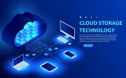 Isometric Cloud Hosting Network vector Banner Design. Online Computing Storage 3D concept. Smartwatch, Computer, Laptop, Mobile phone objects. Concepts Cloud storage. Synchronization and storage data.