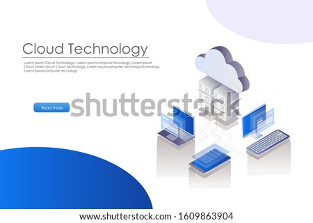 isometric cloud server from