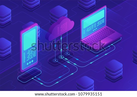 Isometric cloud storage concept. Synchronization backend cloud data storage with laptop, smartphone on ultraviolet background. Data transfer upload-download process. Vector 3d isometric illustration.