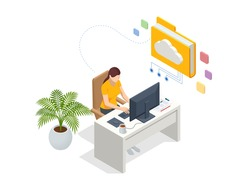 Isometric Cloud Technology. Woman Working From Home. Global Outsourcing, People Using Cloud System in Distant Work and Data Storage. Clouds connected documents.