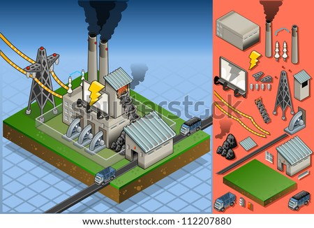 isometric coal plant in production of energy