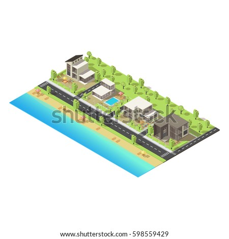 Isometric coastal suburban buildings concept with mansions of different construction road beach and park vector illustration