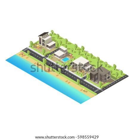 isometric coastal suburban