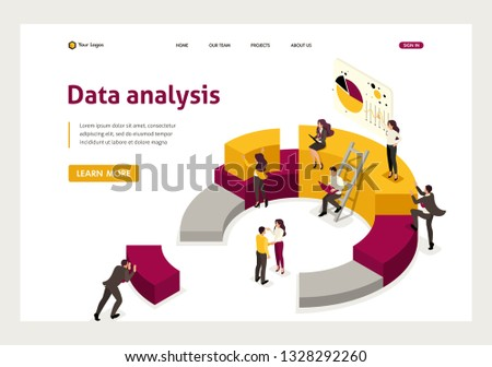 Isometric collecting and analyzing data, people collect a chart. Website Template Landing page