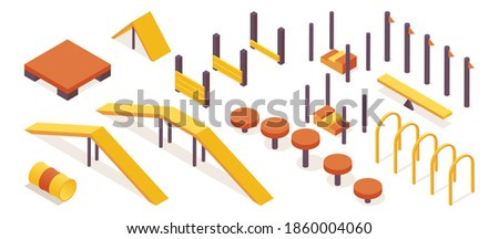 Isometric collection of dog agility training equipment isolated on white background. Orange and yellow objects good for outdoor pet school design  ストックフォト ©