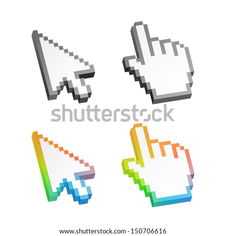 Isometric colorful arrow cursor pack isolated on white. Vector illustration.