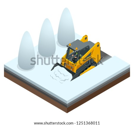 Isometric Compact Excavators. Orange Steer Loader isolated on a white background.