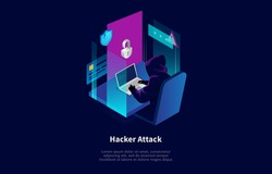 Isometric Composition In Cartoon 3D Style. Vector Illustration On Dark Background With Text And Elements. Hacker Attack Concept Design. Character In Hood Sitting At Table, Cracking System With Laptop