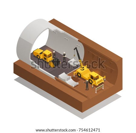 Isometric composition with underground tunnel construction process on white background 3d vector illustration stock photo