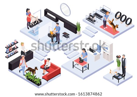 Isometric composition with various pet services and specialists vet groomer trainer 3d vector illustration
