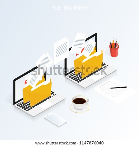 isometric computer file transfer vector