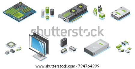 Isometric computer hardware parts set with monitor and system unit electronic components and details isolated vector illustration