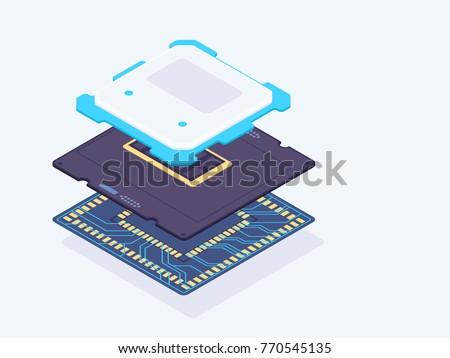isometric computer processor....